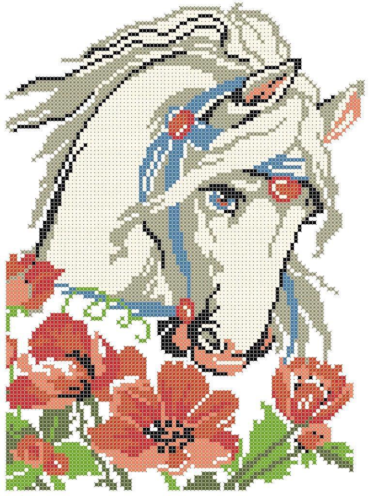 Схема для вишивки та вишивання бісером Бисерок «Кінь з маками» (A4) 20x25 (ЧВ-3428 (10))