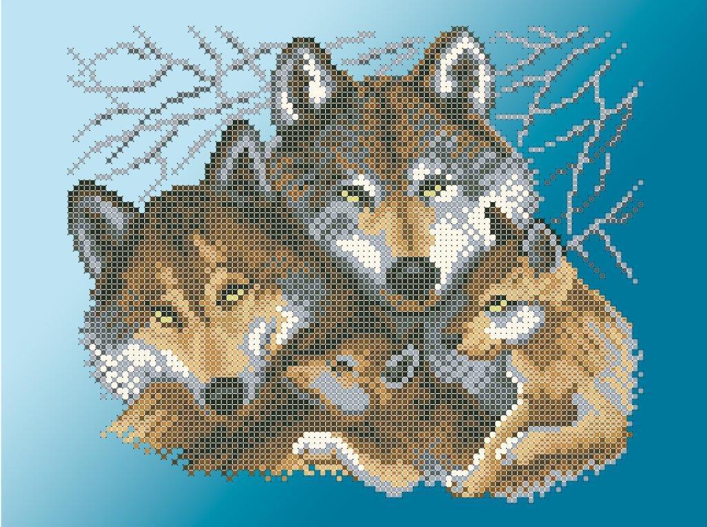 Схема для вишивки та вишивання бісером Бисерок «Сімейство вовків» (A4) 20x25 (ЧВ-3429-Г (10))