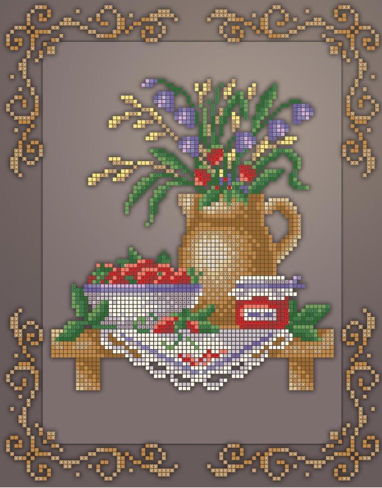 Схема для вишивки та вишивання бісером Бисерок «Кух натюрм букет» (A4) 20x25 (ЧВ-3439 (10))