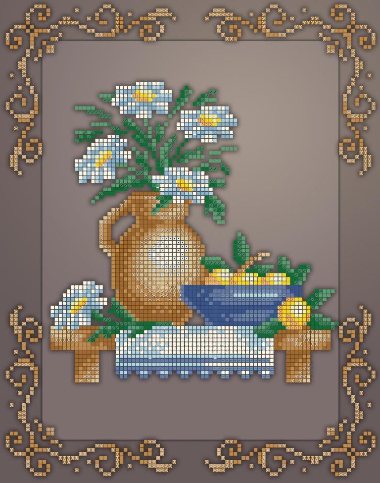 Схема для вишивки та вишивання бісером Бисерок «Кух натюрм ромашки» (A4) 20x25 (ЧВ-3437 (10))