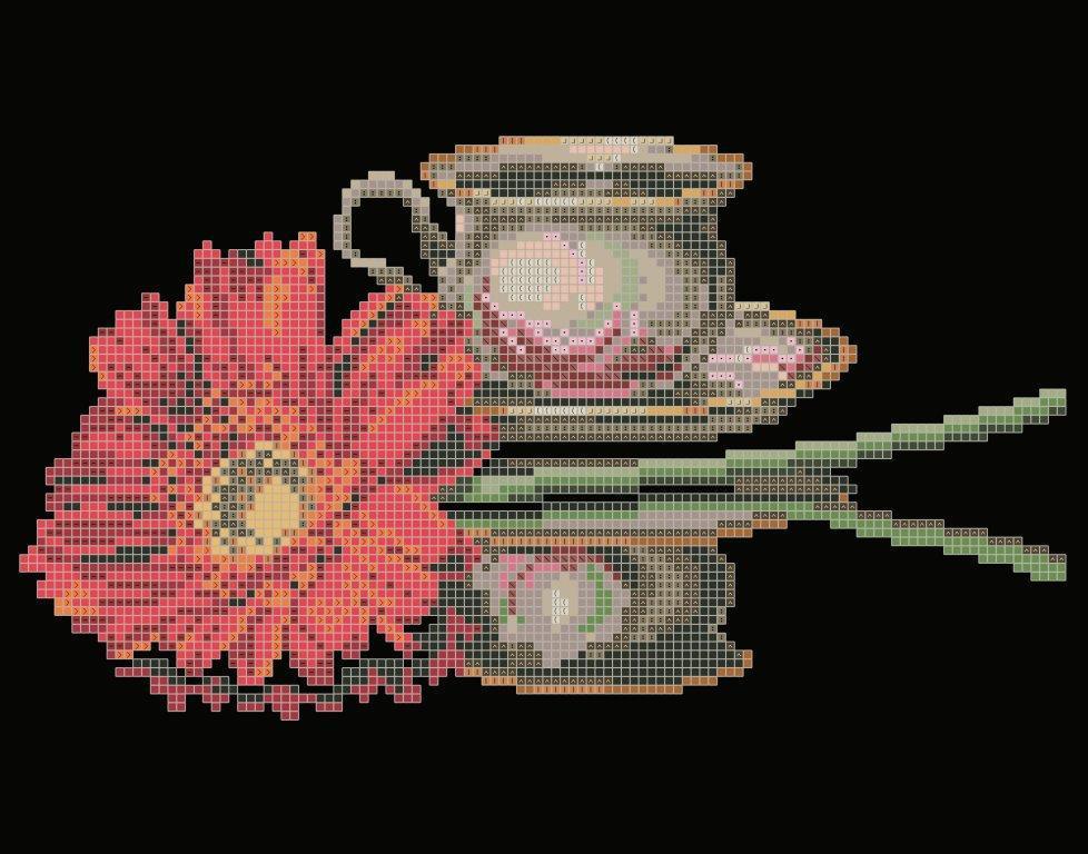 Схема для вишивки та вишивання бісером Бисерок «Кава для неї» (A4) 20x25 (ЧВ-3435 (10))