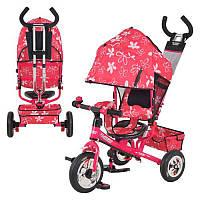 Велосипед М 5361-3-1 надувные три колеса, колясочный, розовый