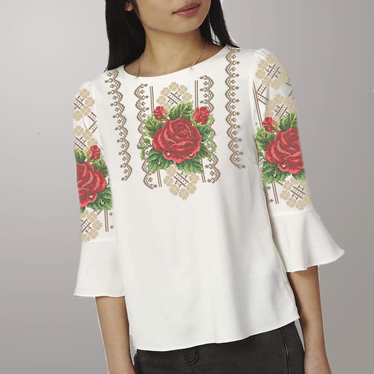 Заготовка вишиванки жіночої сорочки та блузи для вишивки бісером Бисерок «Троянда в росі» (Б-59 )