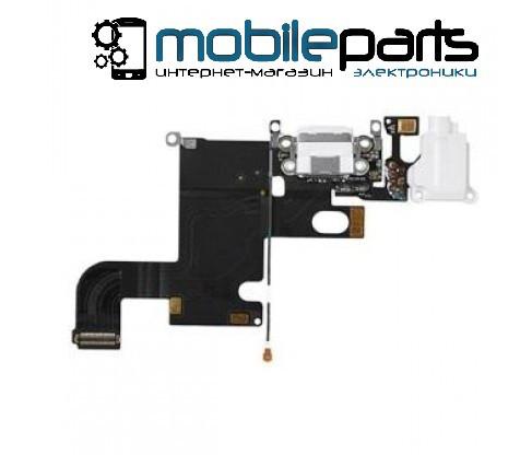 Шлейф для Apple iPhone 6, коннектора зарядки, коннектора наушников, с микрофоном (Белый)
