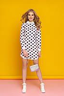 """Молодежное короткое платье с белым рубашечным воротником и манжетами """"А-77"""" (розовый)"""