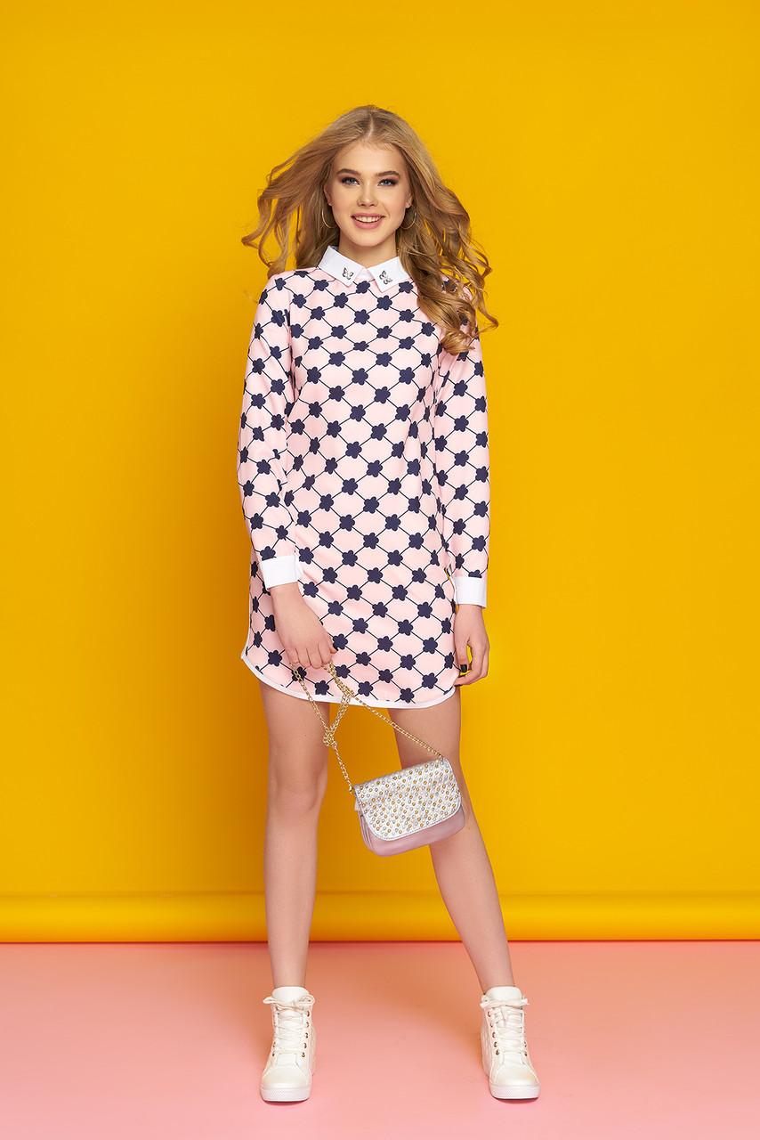 2c6507202bf Молодежное короткое платье с белым рубашечным воротником и манжетами