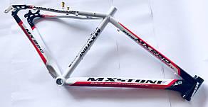 Рама MX Stone велосипедная алюминиевая. Ростовка 19. Бело-Черная