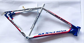 Рама MX Stone велосипедная алюминиевая. Ростовка 21. Бело-Синяя.