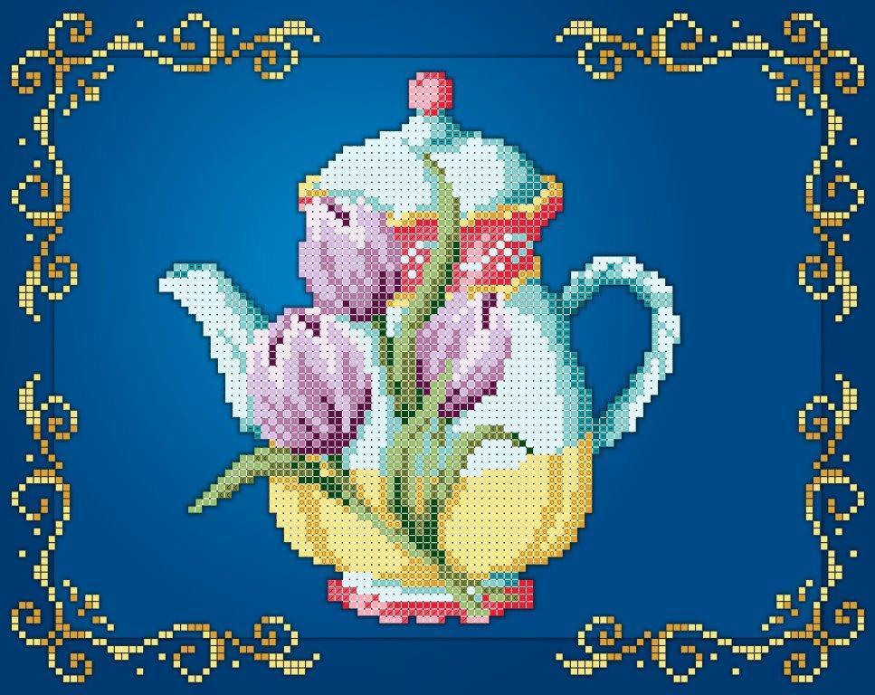 Схема для вишивки та вишивання бісером Бисерок «Чайник тюльпани» (A4) 20x25 (ЧВ-3443(10))