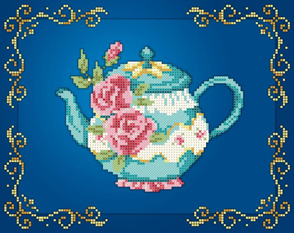 Схема для вишивки та вишивання бісером Бисерок «Чайник рози» (A4) 20x25 (ЧВ-3442(10))