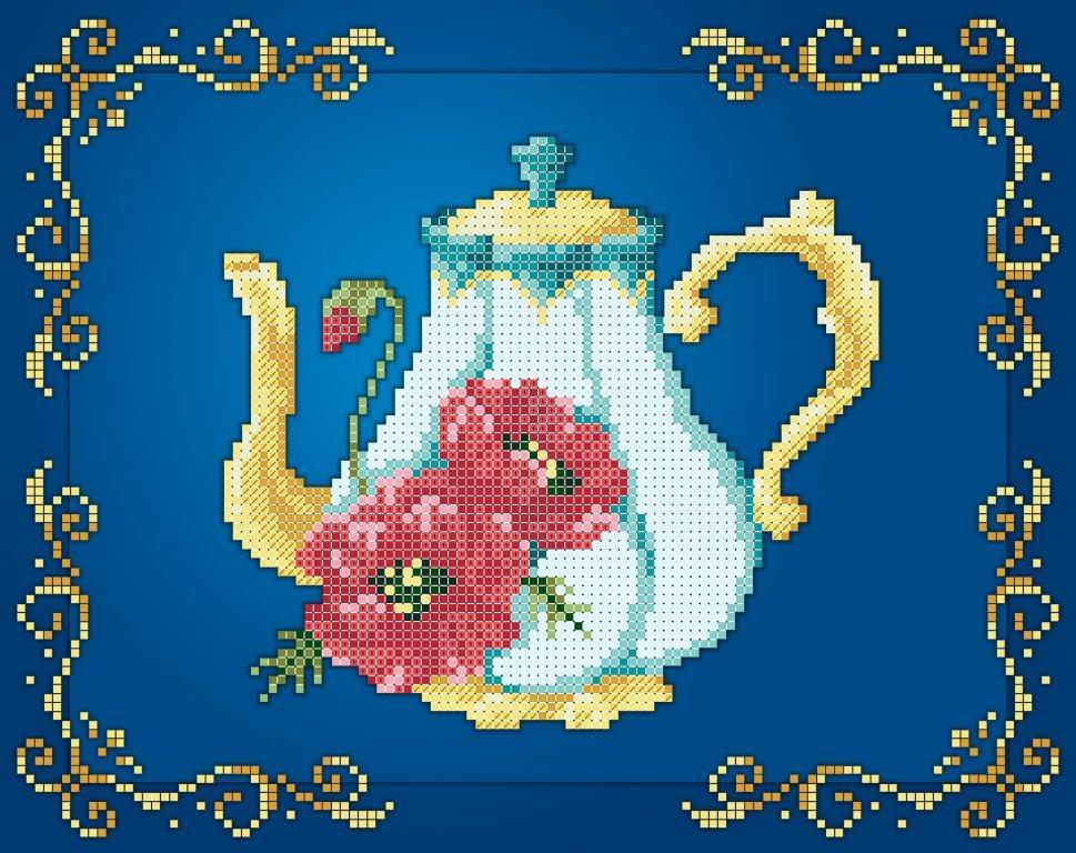 Схема для вишивки та вишивання бісером Бисерок «Чайник маки» (A4) 20x25 (ЧВ-3441(10))
