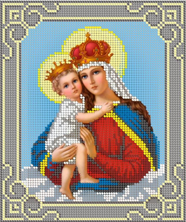 Схема для вишивки та вишивання бісером Бисерок «Мадонна з немовлям 3037-1» (A4) 20x25 (ЧВ-3037-1)