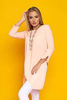 Лёгкая женская блуза-туника, с ассиметричным низом, креп-шифон, персиковая, размер 44, 46, 48, 50