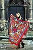 Бирюзовый павлопосадский платок Осенний круговорот, фото 4