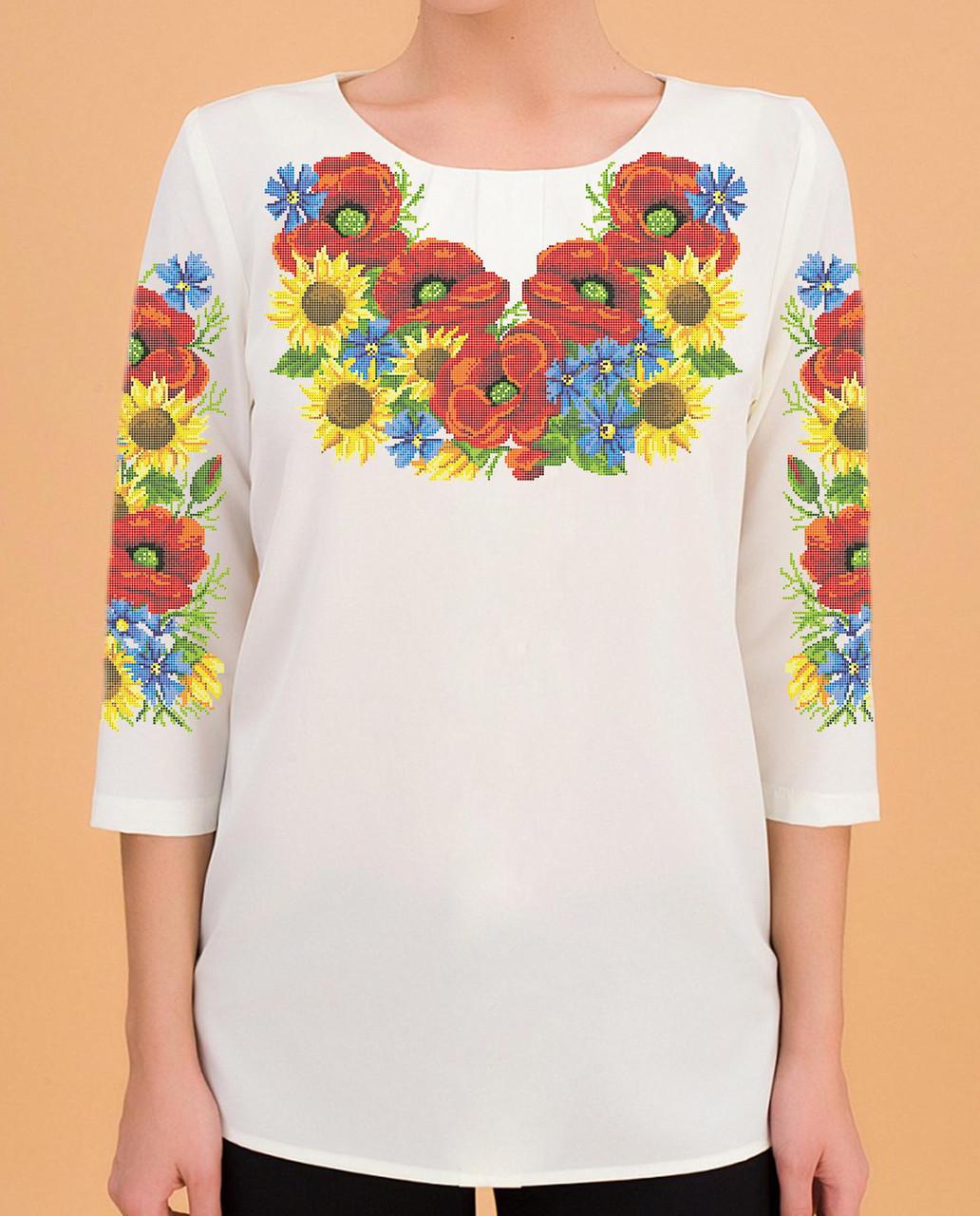 Заготовка вишиванки жіночої сорочки та блузи для вишивки бісером Бисерок «Дарунок літа» (Б-44 ГБ) Габардин