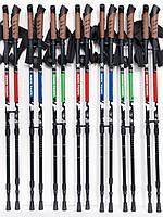 Карбонові палки Nord Sticks коркова ручка для скандинавської ходьби та трекінгу ЧЕРВОНІ