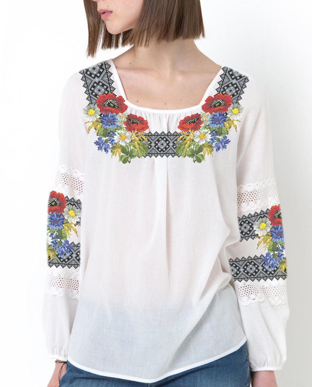 Заготовка вишиванки жіночої сорочки та блузи для вишивки бісером Бисерок «Польова стежина» (Б-42 )