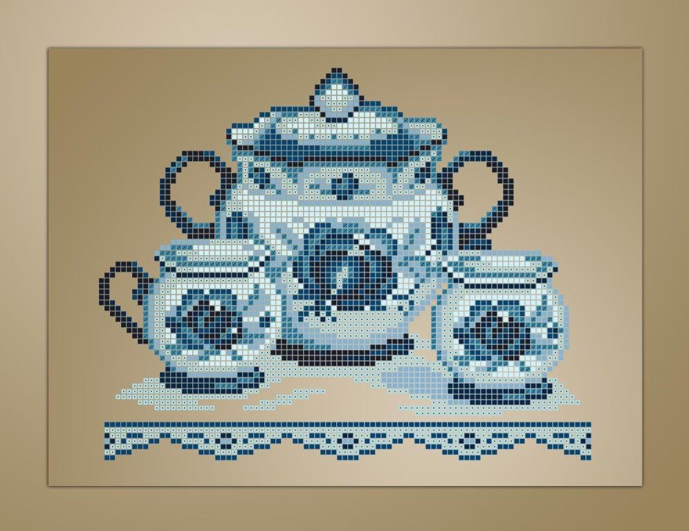 Схема для вишивки та вишивання бісером Бисерок «Кухонний натюрморт-1 коричневий фон» (A4) (ЧВ-3352-К (10))