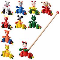 Деревянная игрушка Каталка MD 0024 на палке 48,5см, животное (насекомое) 12см, 10видов (коровка, лягушка, мышка, мишка, собачка, олень, кот - 2 вида,