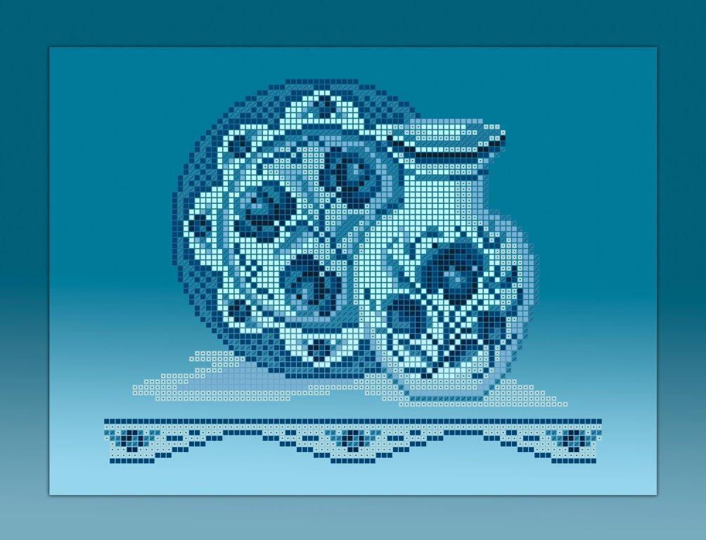 Схема для вишивки та вишивання бісером Бисерок «Кухонний натюрморт-2 голубий фон» (A4) 20x25  (ЧВ-3353-Г (10))