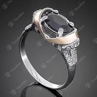 Перстень серебряный 404 Черный Rh