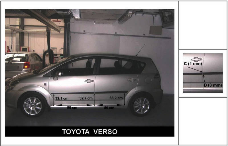 F-16 Door moldings Toyota Corolla Verso II 2004-2009