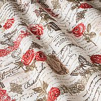 Ткань для штор, римской шторы, покрывал, скатерти, чехлов, подушек красный цветок и надписи
