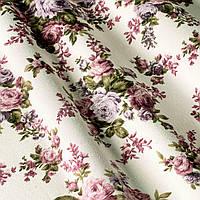 Ткань для штор, скатерти, покрывал, римских штор, чехлов подушек тефлоновая цветы сиреневые и фиолетовые букет