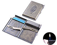 """Портсигар в подарочной упаковке с зажигалкой на 20 сигарет """"Солдат"""" №3306-7"""
