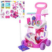 Детский набор для уборки с тележкой Sweet Home 5938: щетки + пылесос + совок (свет)