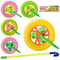 КАТАЛКА 3128 колесо, на палке, трещотка, погремушка, 70-19см, микс цветов, в кульке, 22-46-8см
