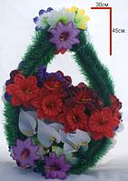 """Венок пасхальный """"цветы двойные, косые"""" 30х45см (10 шт в связке)"""