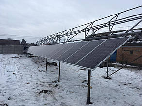 монтаж солнечных батарей на наземную конструкцию