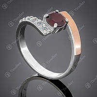 Перстень серебряный 391 Гранат Rh