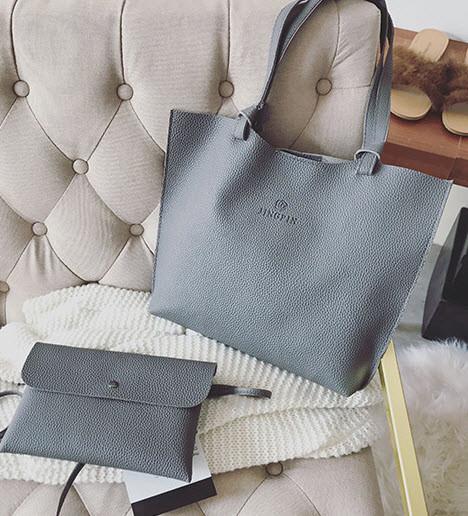 Большая стильная сумка с клатчем JingPin 2в1