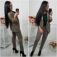 Стильный женский брючный костюм в клетку пиджак и брюки с лампасами