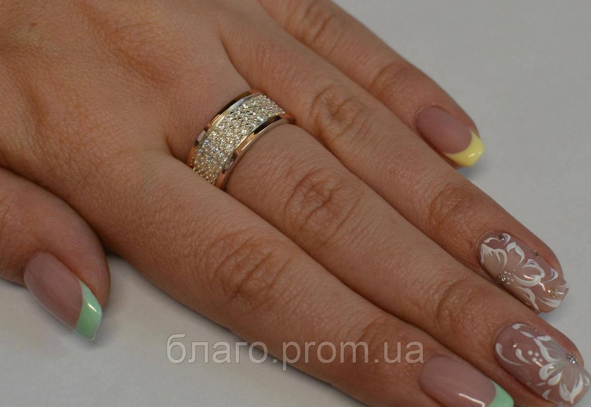 Кольцо серебро с золотом, фото 1