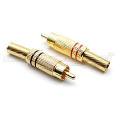 Разъем штекер RCA под шнур с пружиной (металл), Gold