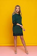 """Нарядное коктейльное прямое платье с кружевом внизу и на рукавах """"Ингрит"""" (зеленый)"""