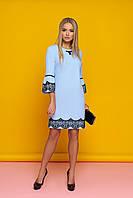 """Нарядное коктейльное прямое платье с кружевом внизу и на рукавах """"Ингрит"""" (голубой)"""