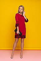 """Нарядное коктейльное прямое платье с кружевом внизу и на рукавах """"Ингрит"""" (красный)"""