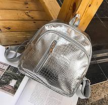 Стильный лакированный рюкзак под кожу рептилии, фото 3