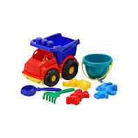 """Машина """"Тотошка"""" самосвал №3: машинка, ведёрко, лопатка и грабельки (ЛГ3) и три пасочки (П3) арт 0183"""