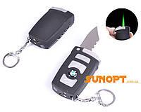 Зажигалка-брелок карманная c ножом BMW (Турбо пламя) №4133-3