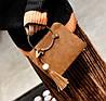 Модная каркасная сумка с ручками кольцами и мраморным оттенком, фото 3