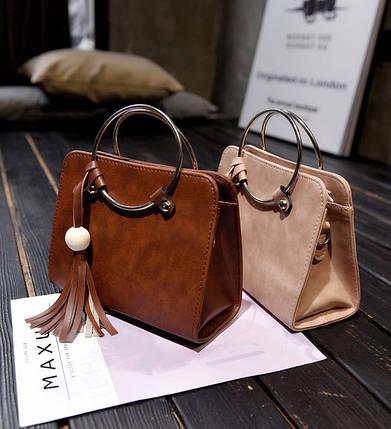 Модная каркасная сумка с ручками кольцами и мраморным оттенком, фото 2