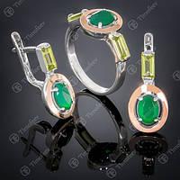 Серебряный комплект 381 Агат Зеленый-Хризолит Rh