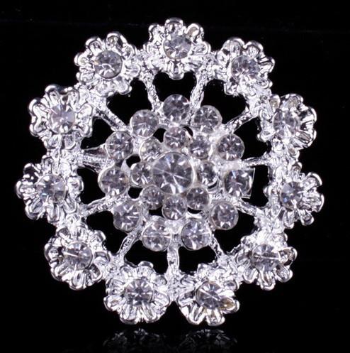 Брошь Хрустальный цветок серебро sbB3/ цвет серебро