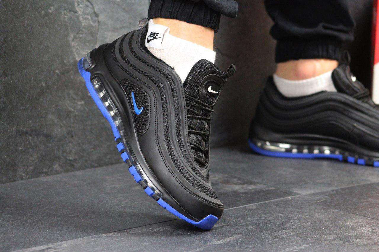 Кроссовки мужские Nike Air Max 97 (черные с синим), ТОП-реплика