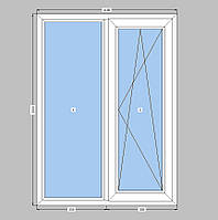 Двухстворчатое окно Openteck ,кухонное окно Опентек,с однокамерным стеклопакетом,на две части